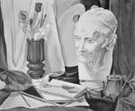 Still life with Voltaire's plaster head
