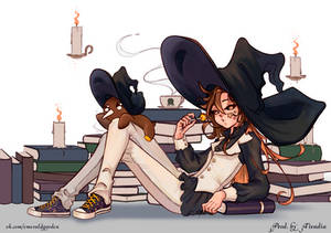 Witch with her little friend