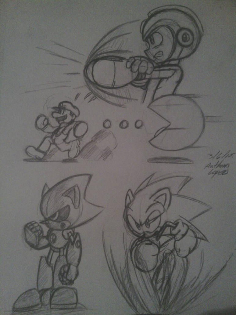 Sketch Dump: Smash Bros? by solarsonic21