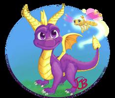 Spyro and Sparx by JewelMistic
