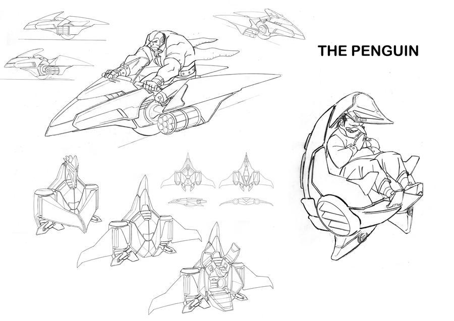 Batman Penguin Vehicle Design Sketches