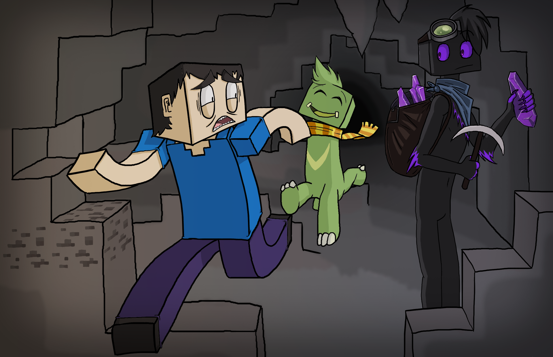 Most Inspiring Wallpaper Minecraft Cute - steve_running_away_from_cave_by_kainkiller1993-d8o0oy4  You Should Have_711857.png