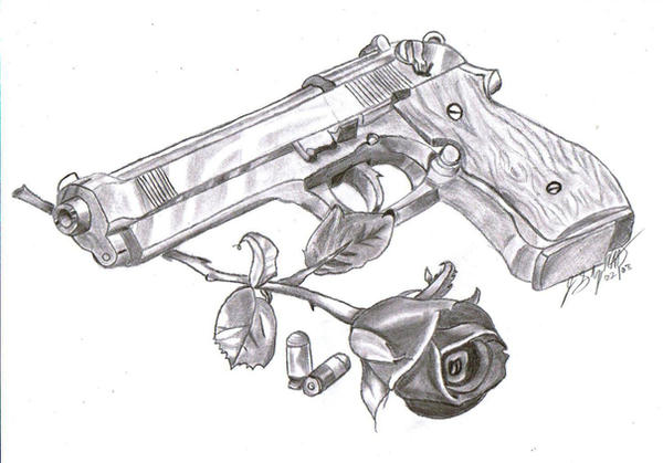 how to draw a realistic gun