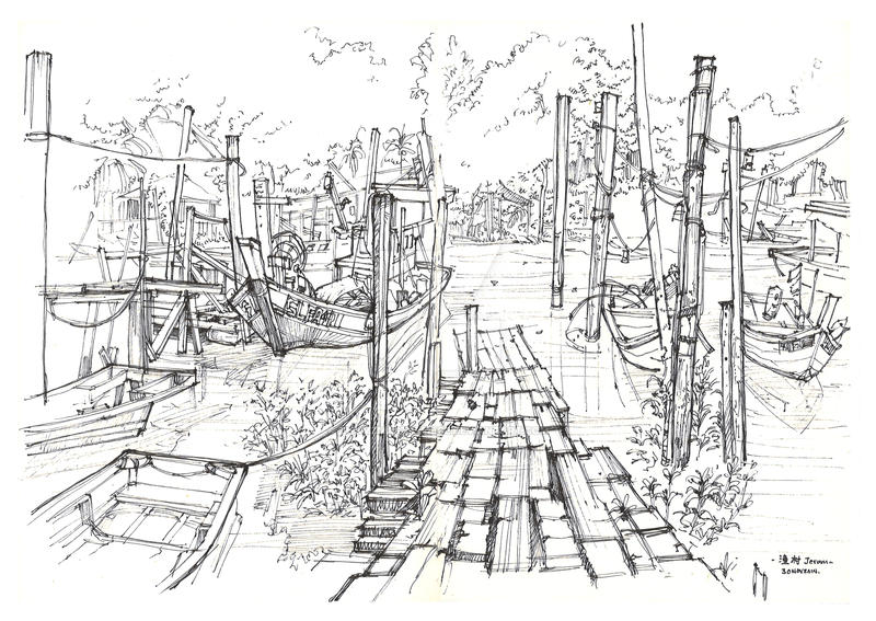 Life Sketching_Fish Village by thamzmasterpiece