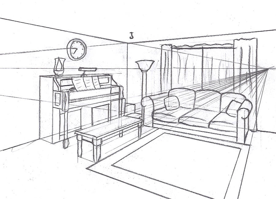 The gallery for living room two point perspective drawing for Living room 2 point perspective