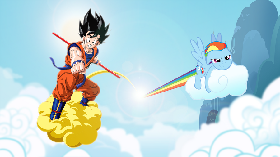 goku_and_rainbow_dash_in_the_clouds_by_r
