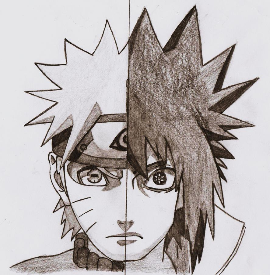 Naruto sasuke drawing naruto vs sasuke shippuden by
