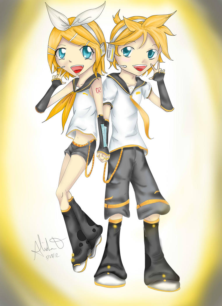 Chibi Kagamine Twins by Checker-Bee