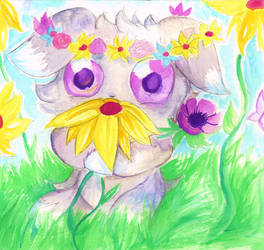 Espurr Wuvs Flowers! by Checker-Bee