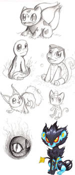 Gen 1 Pokemon sketch dump by Checker-Bee