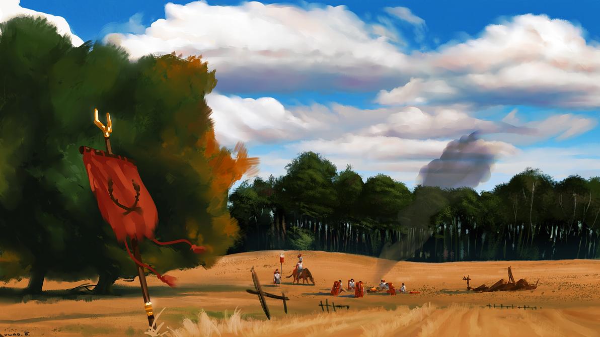 Roman Soldiers on a Break by saltytowel
