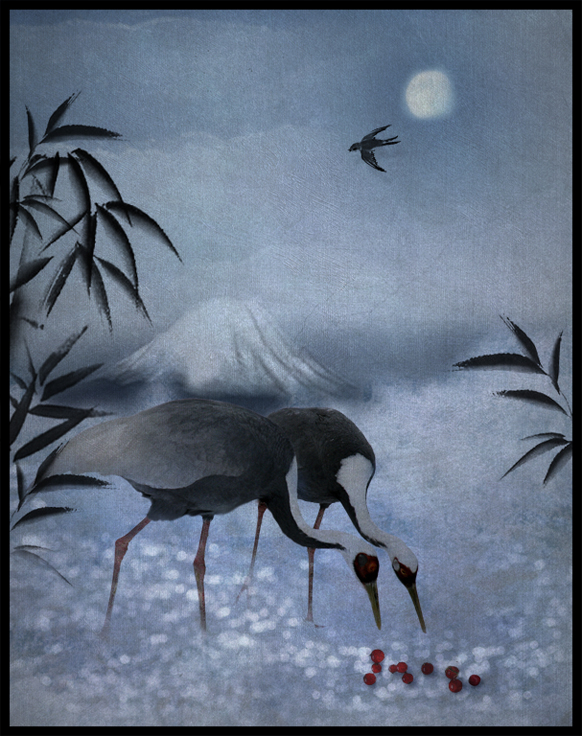 Cranes and Berries by saperlipop