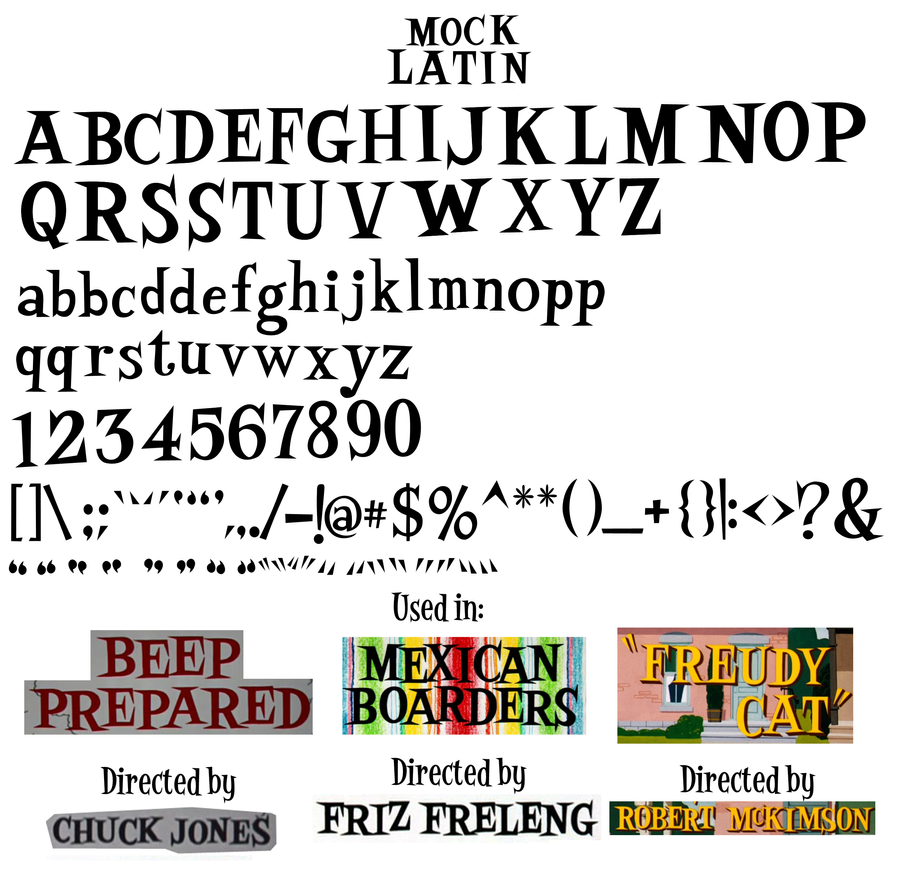 Mock Latin Font Sheet by LooneyTunerIan