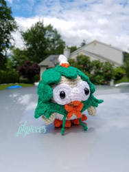 Rowlet in a Decidueye Hoodie Plush / Amigurumi