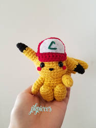 Pikachu Plush / Amigurumi in Ash's hat!