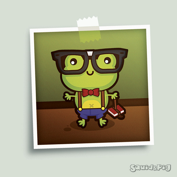 Hermes the Nerdy Frog by SquidPig