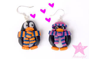 Penguins in Love Earrings by missbeautifool