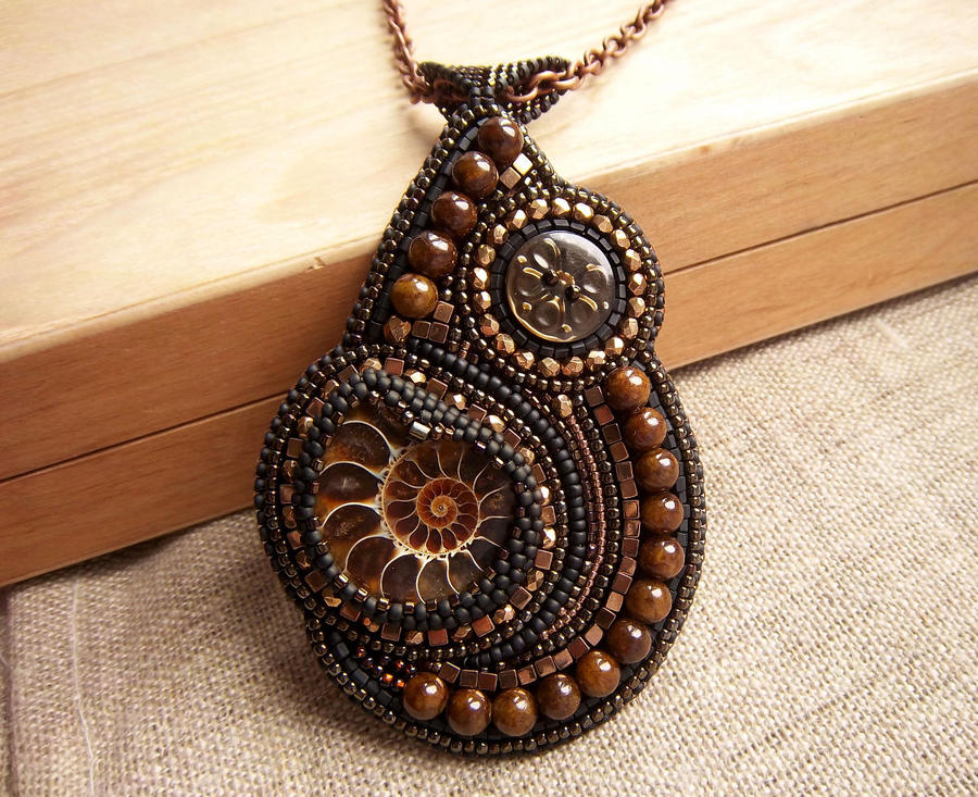 Handmade bead embroidered pendant with ammonite by nikkichou on handmade bead embroidered pendant with ammonite by nikkichou aloadofball Images