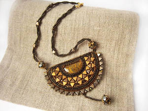 'Inti' bead embroidered necklace