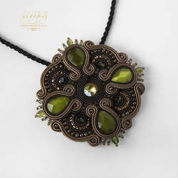 'Mihrimah' - a soutache pendant with cat's eye