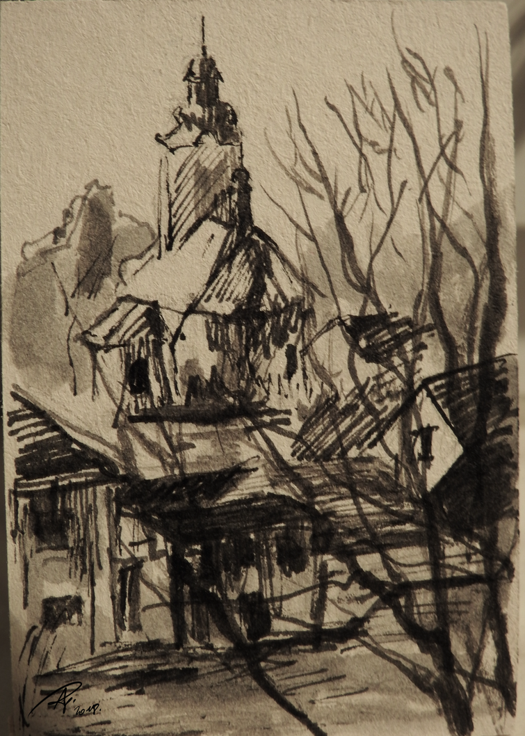Ink sketch of church in Kotorz Wielki by TheAjsAx