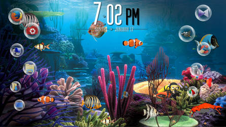 Underwater Desktop with xwidget by Jimking