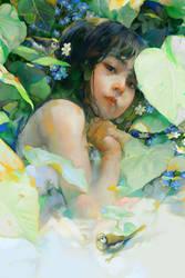 Little Girl in Garden by xnhan00