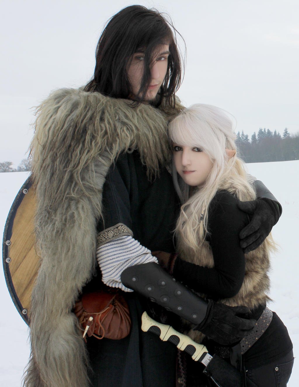 Couple Stock 2, Snow elf+viking by Liancary-Stock