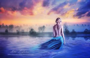 Lavender lake by Liancary-art