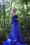 Forest lady - long blue dress - stock