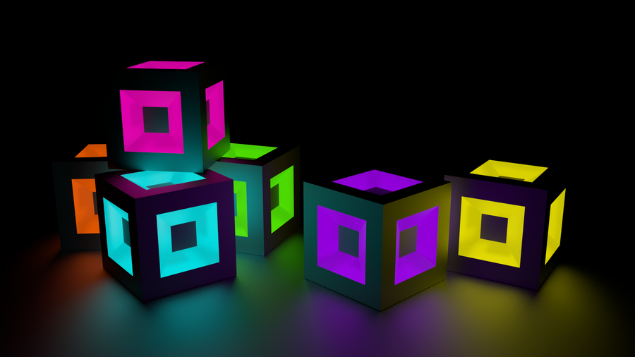 glowing cubes by pixiesnoot on deviantart