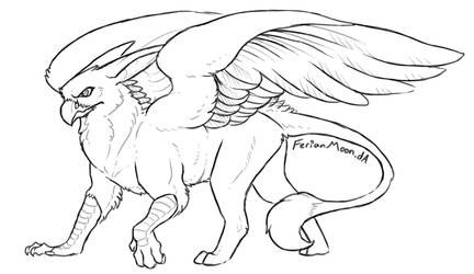 Free Gryphon Lineart by FerianMoon