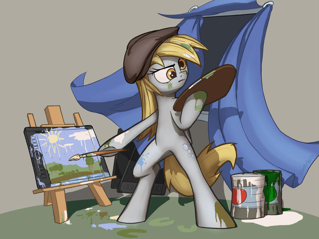 Derpy drawing on a tablet by Cannibalus