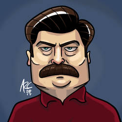 Ron Swanson Caricature by WesleyRiot
