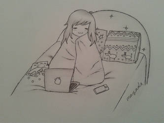 a Chibi Girl in a Christmas bedroom by mimi-memo