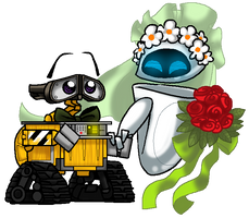 WALL.E and EVE's wedding day by PurpleRAGE9205