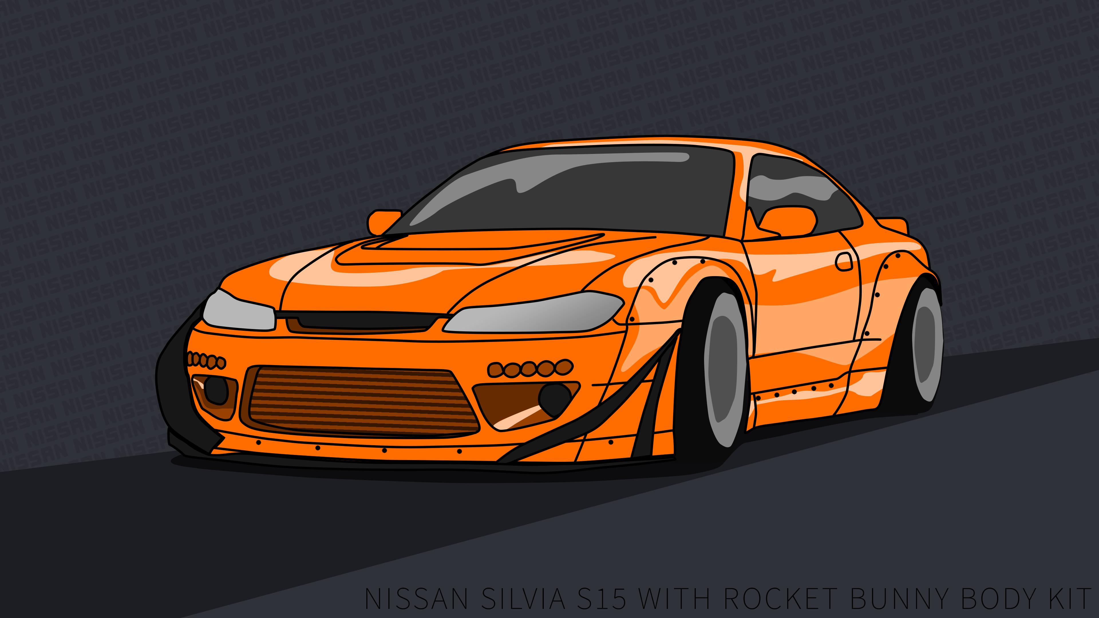 Nissan Silvia S15 Wallpaper 4k Rocket Bunny Orange By