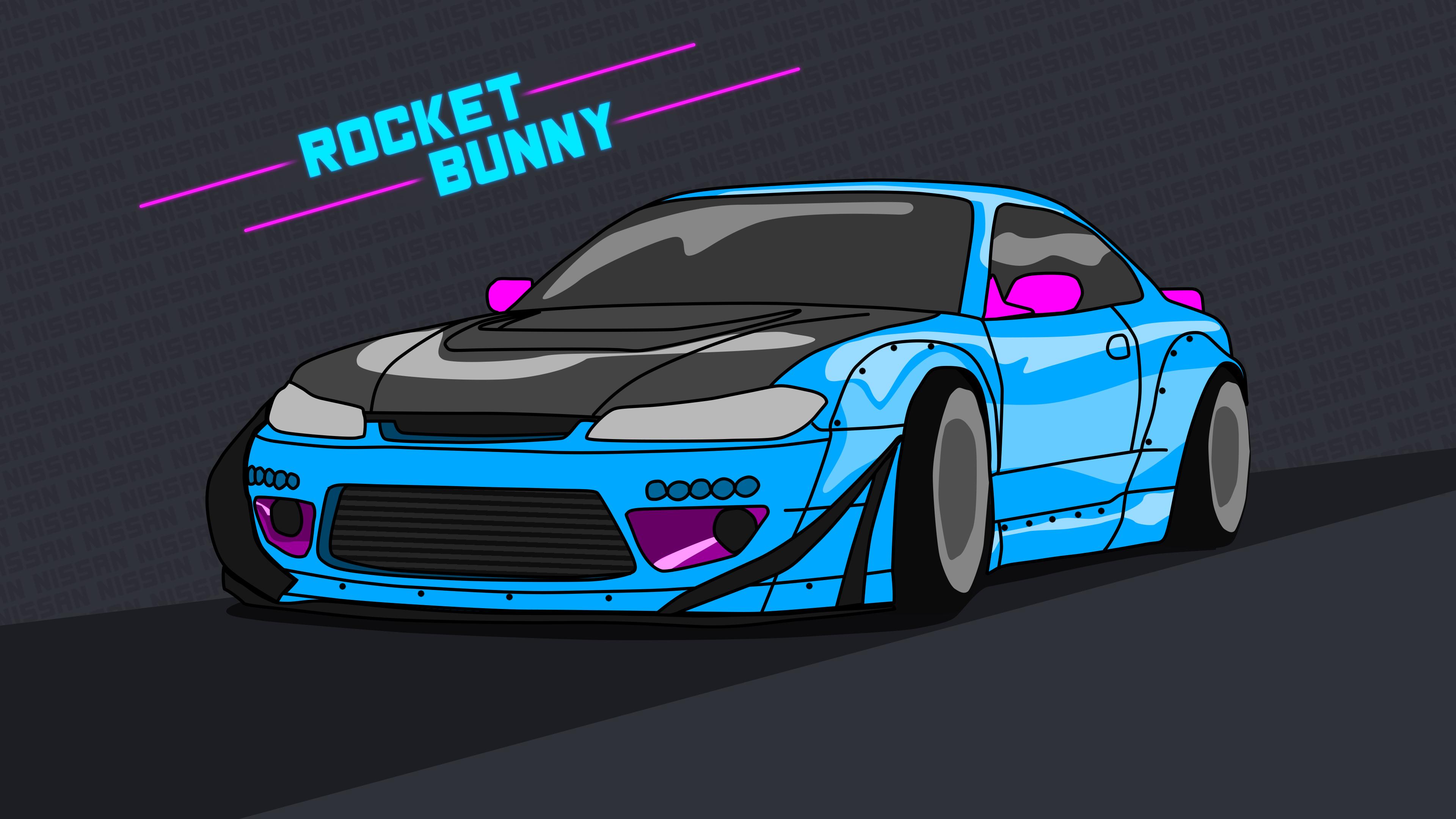 Nissan Silvia S15 Wallpaper 4k Rocket Bunny Neon By