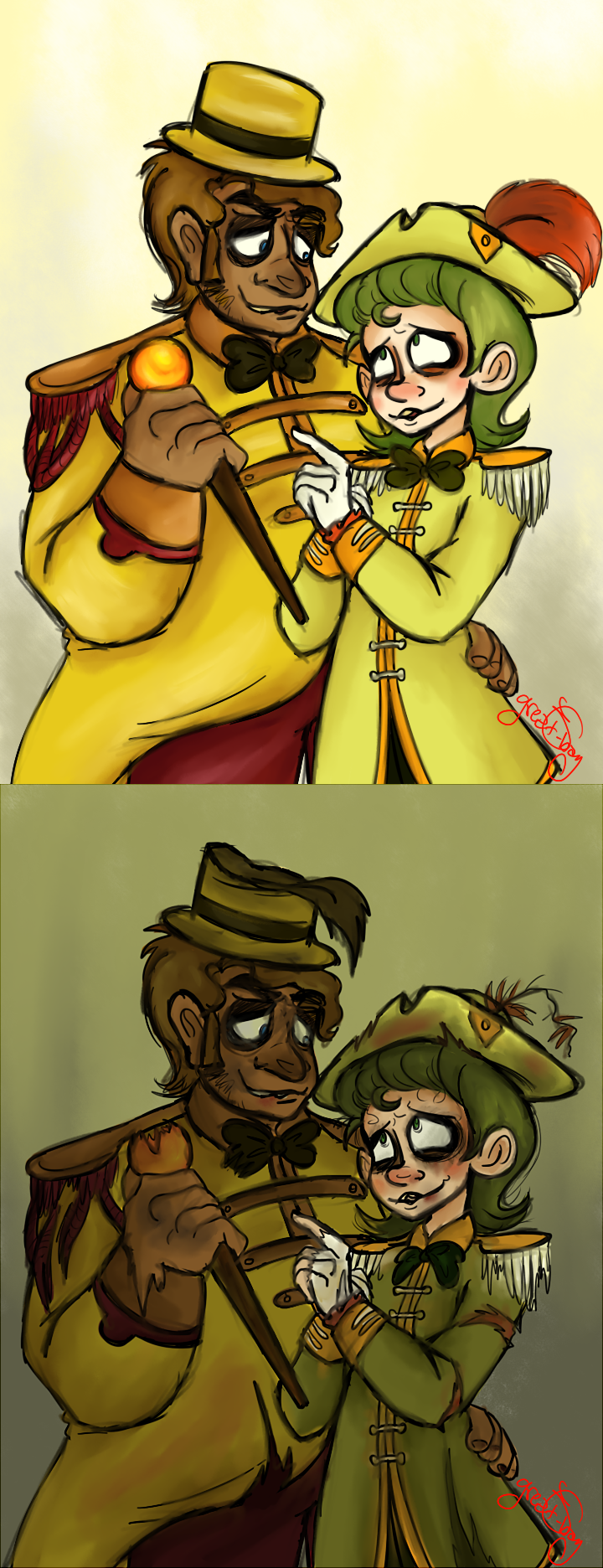 Golden freddy and springtrap by yerblues99 on deviantart