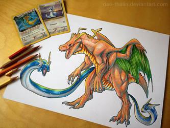 Legendary Dragons: Dratini, Dragonair, Dragonite by Dae-Thalin