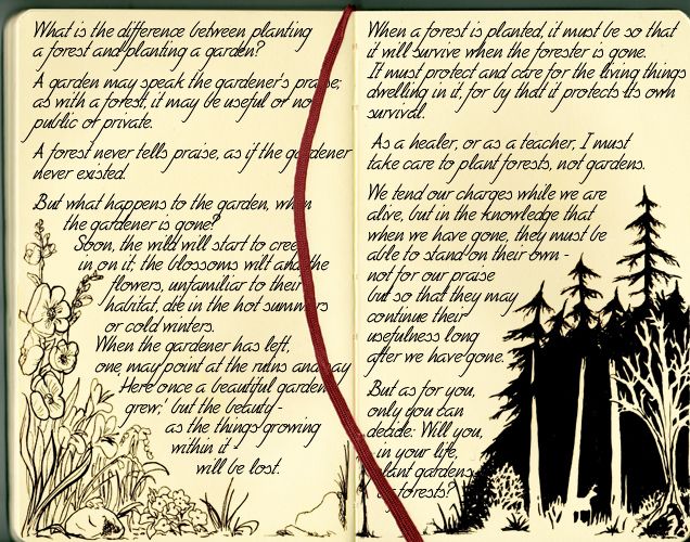 Nimlith's Notebook: The Forest and the Garden by spiegelscherben