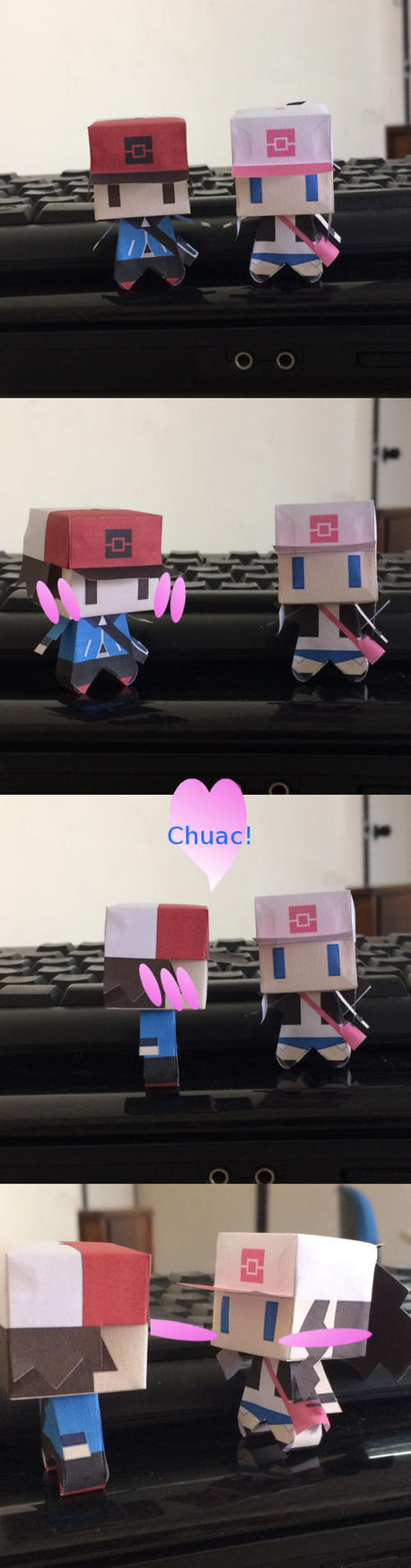 Pokemon Trainers Chibi Papercraft by guitarseer