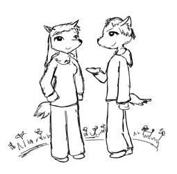 Werewolf Couple in Garden [Prize] by MagicalTF
