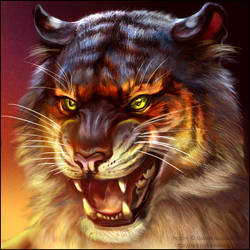 Angry Tiger Square Portrait by Red-IzaK
