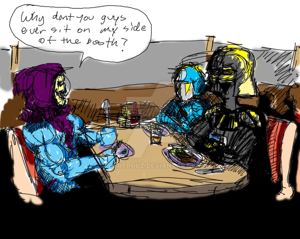 Darth Vader, Cobra Commander and Skeletor a diner by ...