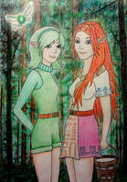 Saria and Malon in the Woods by sophielights