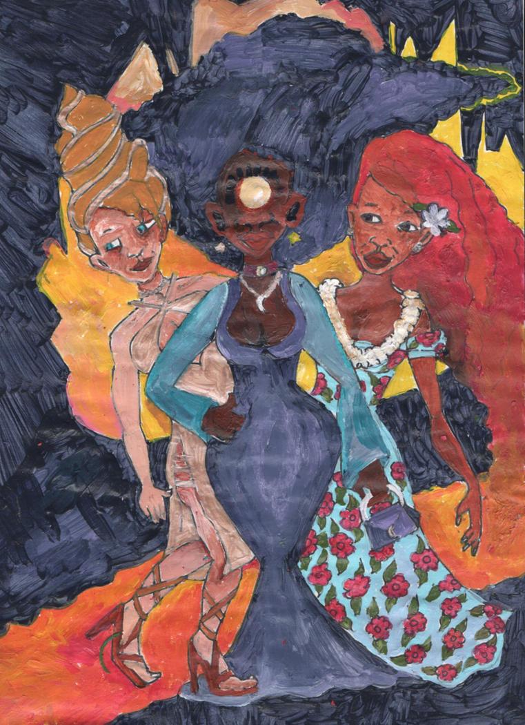 Insatiable New Three Godess Painting by sumikoska
