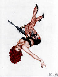 Black Widow Vintage Pin-Up by MrLively