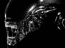 Digital Stippling - Alien WIP2 by BikerScout