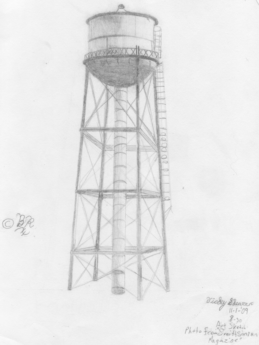 art sketch water tower by blackrose841